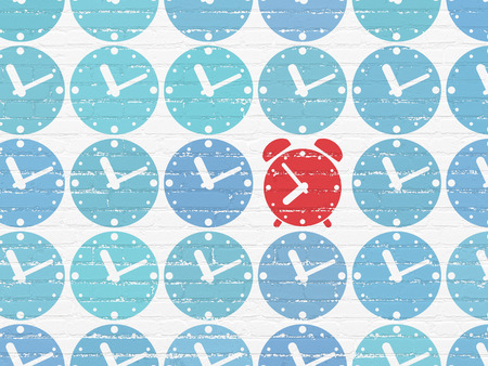 Timeline concept: rows of Painted blue clock icons around red alarm clock icon on White Brick wall background Stock Photo