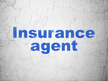 textured wall: Insurance concept: Blue Insurance Agent on textured concrete wall background Stock Photo
