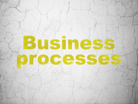 textured wall: Business concept: Yellow Business Processes on textured concrete wall background Stock Photo