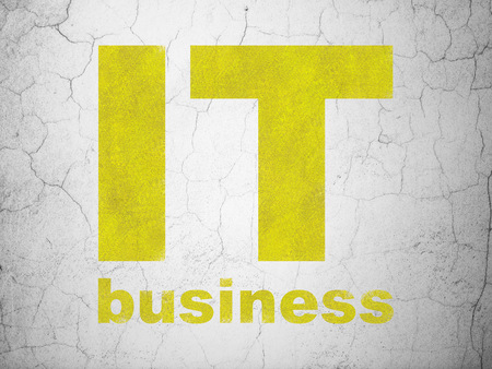 textured wall: Business concept: Yellow IT Business on textured concrete wall background