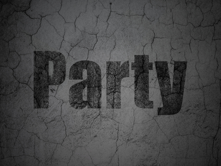 textured wall: Entertainment, concept: Black Party on grunge textured concrete wall background Stock Photo