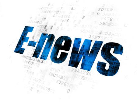 ニュース概念: デジタル背景にドット絵の青いテキスト E ニュース