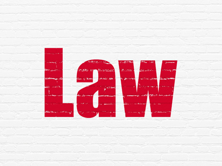 jurisprudencia: Law concept: Painted red text Law on White Brick wall background Foto de archivo