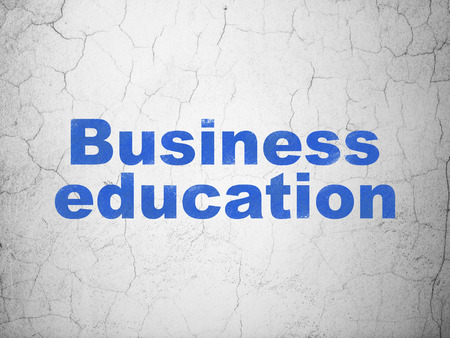 textured wall: Studying concept: Blue Business Education on textured concrete wall background Stock Photo