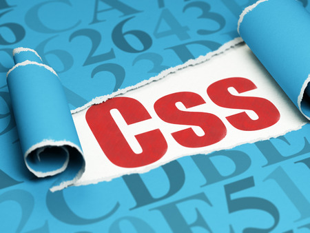 Software concept: red text Css under the curled piece of Blue torn paper with  Hexadecimal Code, 3D rendering Stock Photo