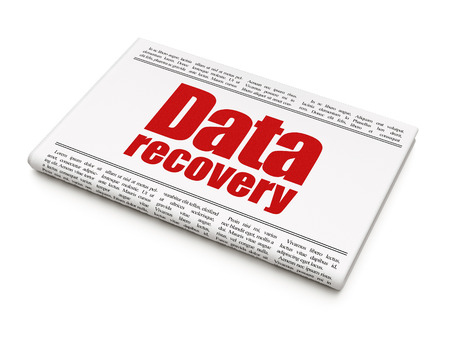 data recovery: Data concept: newspaper headline Data Recovery on White background, 3D rendering