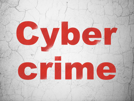 textured wall: Safety concept: Red Cyber Crime on textured concrete wall background