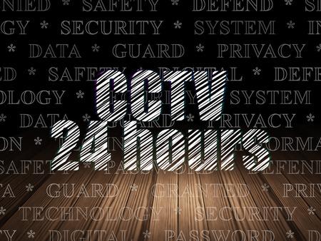 Protection concept: Glowing text CCTV 24 hours in grunge dark room with Wooden Floor, black background with  Tag Cloud