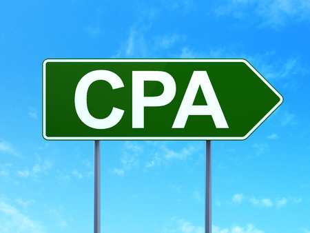 Finance concept: CPA on green road highway sign, clear blue sky background, 3D rendering Stok Fotoğraf