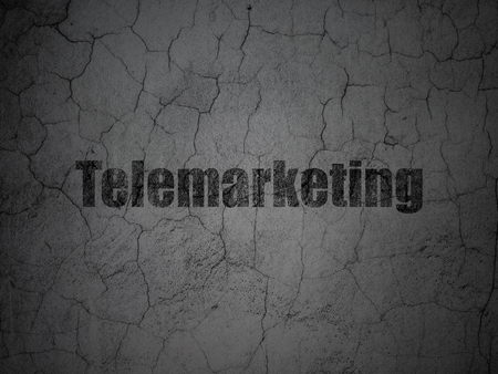 textured wall: Advertising concept: Black Telemarketing on grunge textured concrete wall background Stock Photo