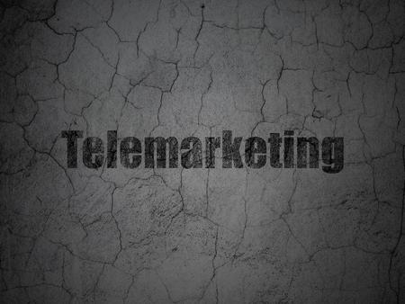 telemarketing: Advertising concept: Black Telemarketing on grunge textured concrete wall background Stock Photo