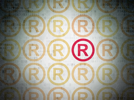 r regulation: Law concept: rows of Painted yellow registered icons around red registered icon on Digital Data Paper background Stock Photo