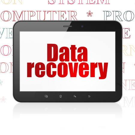 data recovery: Information concept: Tablet Computer with  red text Data Recovery on display,  Tag Cloud background, 3D rendering