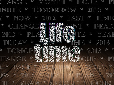 Timeline concept: Glowing text Life Time in grunge dark room with Wooden Floor, black background with  Tag Cloud