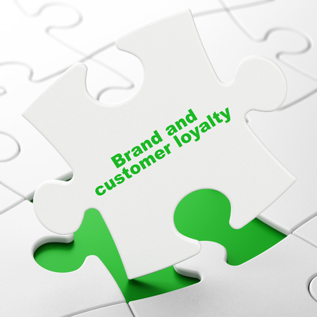 Advertising concept: Brand and Customer loyalty on White puzzle pieces background, 3D rendering