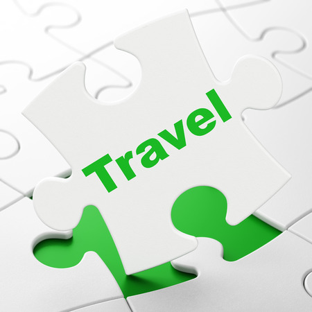Entertainment, concept: Travel on White puzzle pieces background, 3D rendering Stock Photo