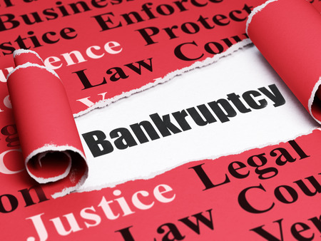 Law concept: black text Bankruptcy under the curled piece of Red torn paper with  Tag Cloud, 3D rendering Banco de Imagens - 69942614