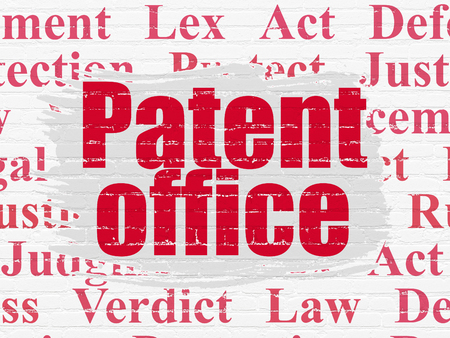 jurisprudencia: Law concept: Painted red text Patent Office on White Brick wall background with  Tag Cloud