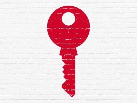 Security concept: Painted red Key icon on White Brick wall background Stock Photo
