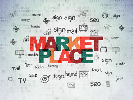 Marketing concept: Painted multicolor text Marketplace on Digital Data Paper background with  Hand Drawn Marketing Icons Stock Photo