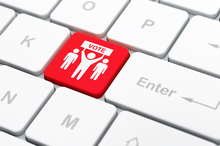 selected: Politics concept: computer keyboard with Election Campaign icon on enter button background, selected focus, 3D rendering Stock Photo
