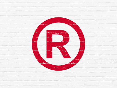 r regulation: Law concept: Painted red Registered icon on White Brick wall background