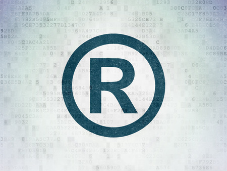 r regulation: Law concept: Painted blue Registered icon on Digital Data Paper background