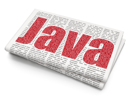 xml: Software concept: Pixelated red text Java on Newspaper background, 3D rendering