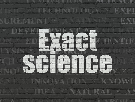 exact science: Science concept: Painted white text Exact Science on Black Brick wall background with  Tag Cloud