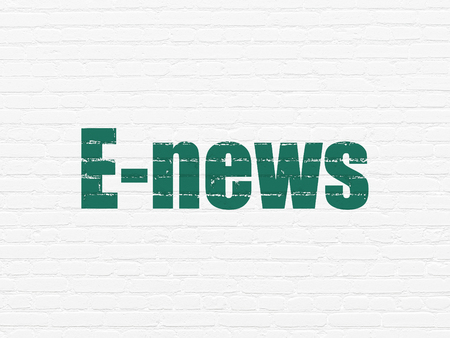 urgent announcement: News concept: Painted green text E-news on White Brick wall background