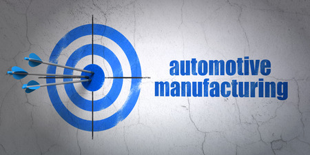 hit tech: Success Industry concept: arrows hitting the center of target, Blue Automotive Manufacturing on wall background, 3D rendering