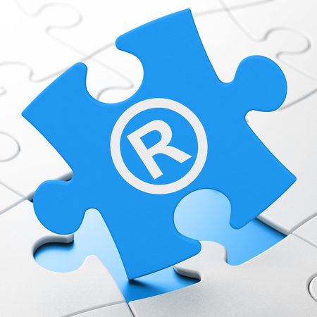 r regulation: Law concept: Registered on Blue puzzle pieces background, 3D rendering Stock Photo