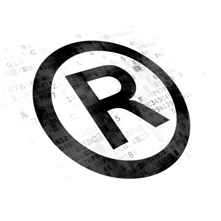 r regulation: Law concept: Pixelated black Registered icon on Digital background