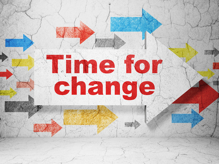 urban planning: Time concept:  arrow with Time For Change on grunge textured concrete wall background, 3D rendering