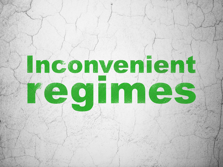regimes: Political concept: Green Inconvenient Regimes on textured concrete wall background
