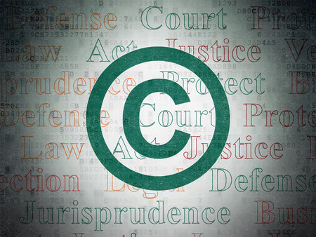 Law concept: Painted green Copyright icon on Digital Data Paper background with  Tag Cloud