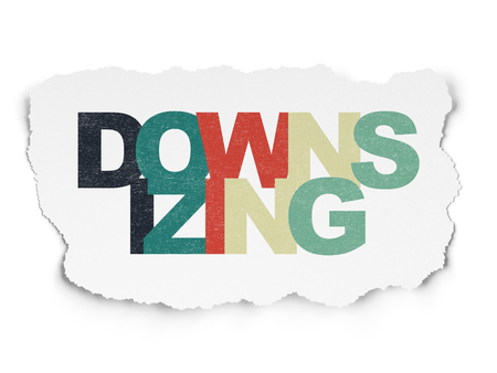 downsizing: Business concept: Painted multicolor text Downsizing on Torn Paper background Stock Photo