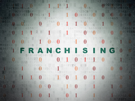 franchising: Business concept: Painted green text Franchising on Digital Data Paper background with Binary Code Stock Photo