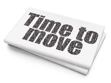 cronologia: Time concept: Pixelated black text Time to Move on Blank Newspaper background, 3D rendering Foto de archivo