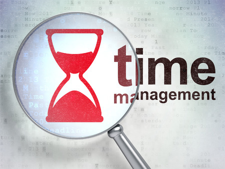 Time concept: magnifying optical glass with Hourglass icon and Time Management word on digital background, 3D rendering Stock Photo