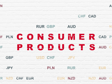 consumer products: Business concept: Painted red text Consumer Products on White Brick wall background with Currency