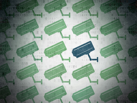 monitored: Safety concept: rows of Painted green cctv camera icons around blue cctv camera icon on Digital Data Paper background