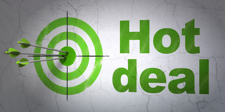 hitting a wall: Success business concept: arrows hitting the center of target, Green Hot Deal on wall background, 3D rendering