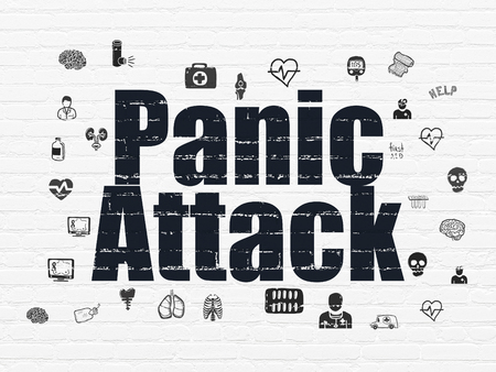 panic attack: Health concept: Painted black text Panic Attack on White Brick wall background with  Hand Drawn Medicine Icons
