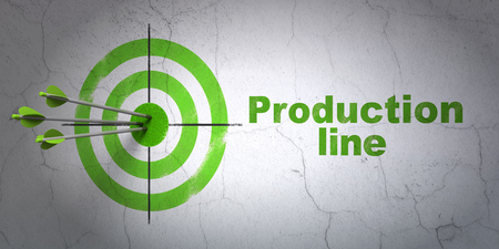 hitting a wall: Success Industry concept: arrows hitting the center of target, Green Production Line on wall background, 3D rendering
