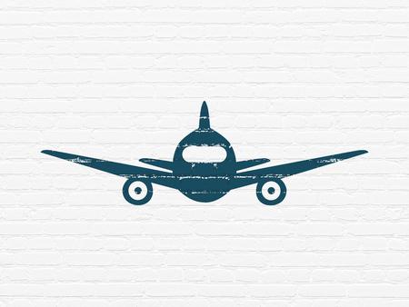 Concepto De Turismo Icono De Avión Rojo Pintado En El Fondo De La Pared De Ladrillo Blanco Fotos Retratos Imágenes Y Fotografía De Archivo Libres De Derecho Image 87123474