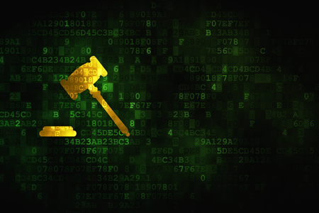 criminal act: Law concept: pixelated Gavel icon on digital background, empty copyspace for card, text, advertising Stock Photo