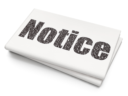 Law concept: Pixelated black text Notice on Blank Newspaper background, 3D rendering