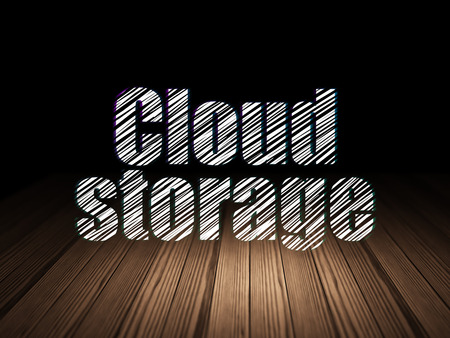 Protection concept: Glowing text Cloud Storage in grunge dark room with Wooden Floor, black background Stock Photo