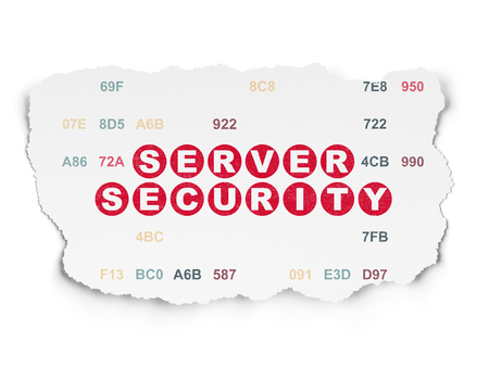 Security concept: Painted red text Server Security on Torn Paper background with  Hexadecimal Code